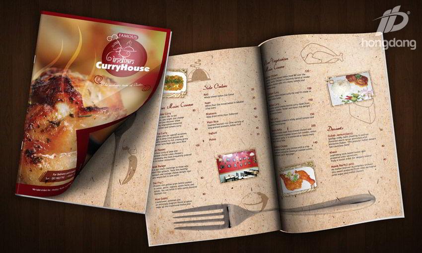 in menu thực đơn