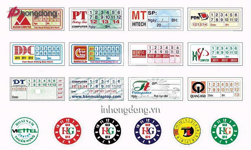mẫu tem bảo hành