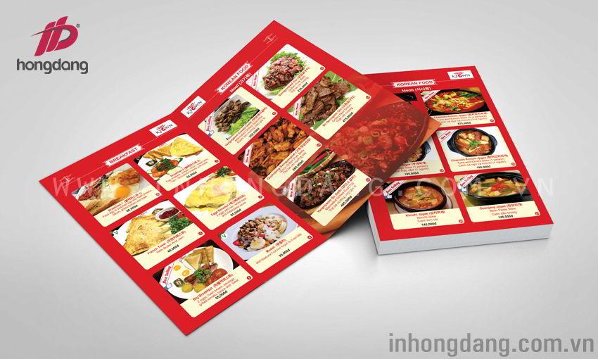 Thiết kế in ấn menu tại Hồng Đăng