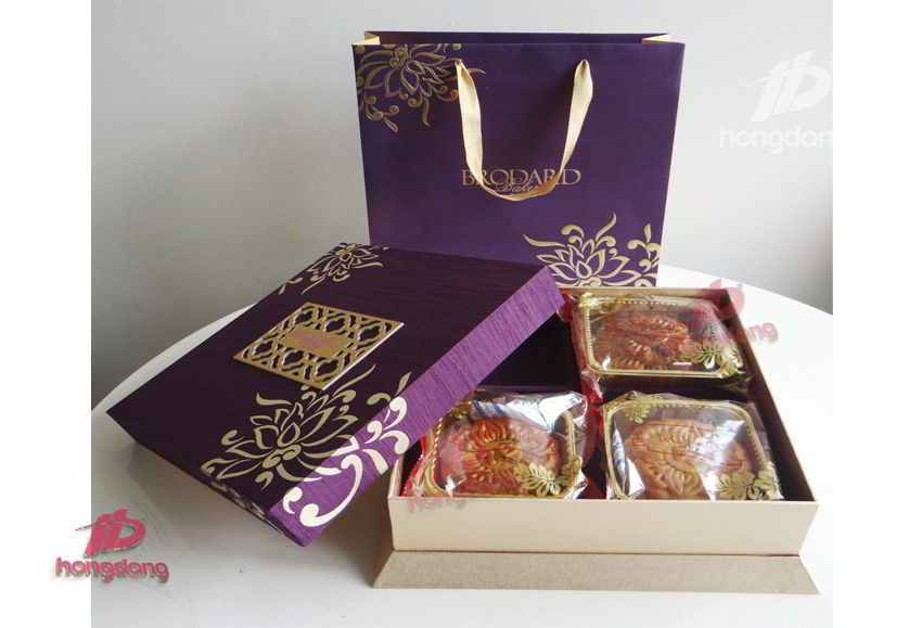 Địa chỉ vàng in hộp giấy đựng bánh trung thu chất lượng
