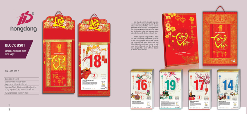 Hồng Đăng In lịch bloc giá rẻ chất lượng tốt