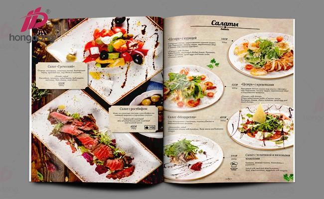 Thiết kế in catalogue nhà hàng đầy ấn tượng