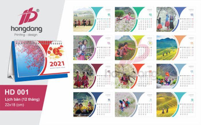 Các dạng in lịch 2021 được yêu thích nhất