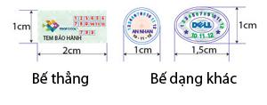 kích thước in tem bảo hành